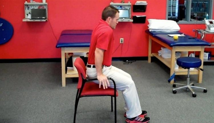 Chair press-up (start)